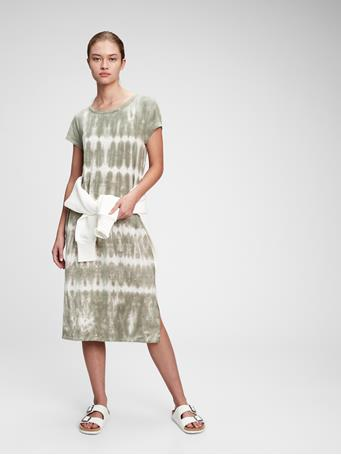 GAP - Midi T-Shirt Dress OLIVE TIE DYE