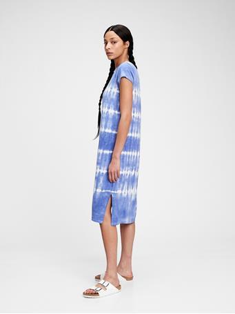 GAP - Midi T-Shirt Dress CLOUDY BLUE TIE DYE