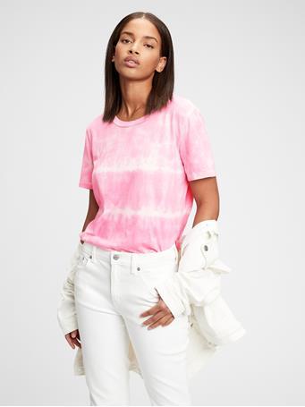 GAP - 100% Organic Cotton Vintage Tie-Dye T-Shirt PINK TIE DYE