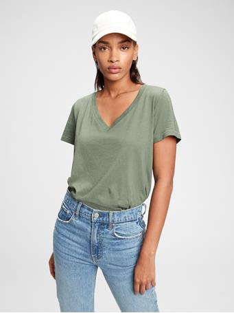 GAP - 100% Organic Cotton Vintage V-Neck T-Shirt TWIG