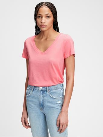 GAP - 100% Organic Cotton Vintage V-Neck T-Shirt LIPSTICK PINK
