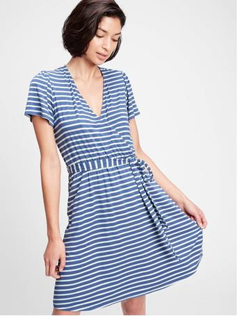 GAP - Short Sleeve Wrap Dress BLUE STRIPE COMBO B