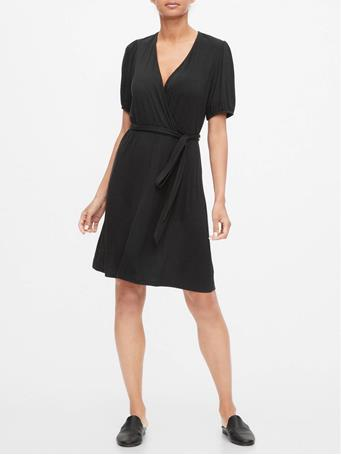 GAP - Short Sleeve Wrap Dress TRUE BLACK V2