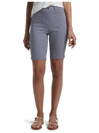 HUE- Stripe Ultra Soft Denim High Waist Bermuda Shorts INDIGO
