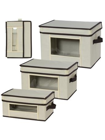 CREATIVE WARE - Canvas Storage Boxes with Window Set of 3 IVORY