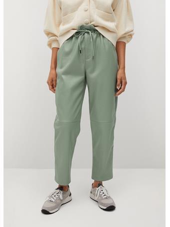 MANGO - Leather-effect Elastic Waist Trousers GREEN