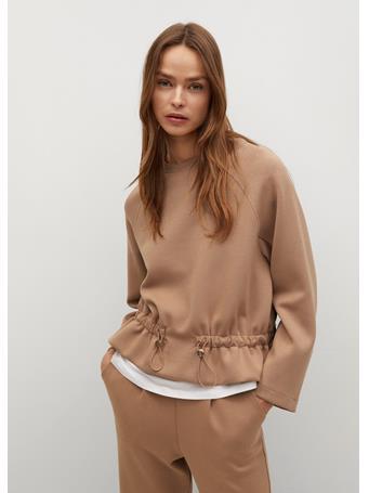 MANGO - Sweater With Ruffle Detail MEDIUM BROWN