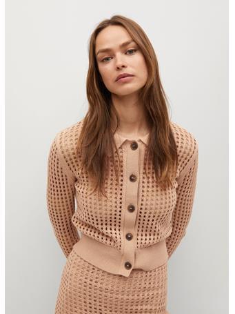 MANGO - Cotton Crochet Cardigan LIGHT BEIGE