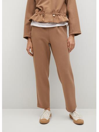 MANGO - Straight Knitted Pants MEDIUM BROWN