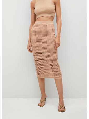 MANGO - Crochet Midi Skirt LIGHT BEIGE