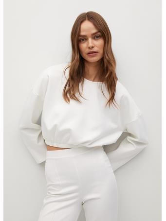 MANGO - Elastic Crop Sweatshirt WHITE
