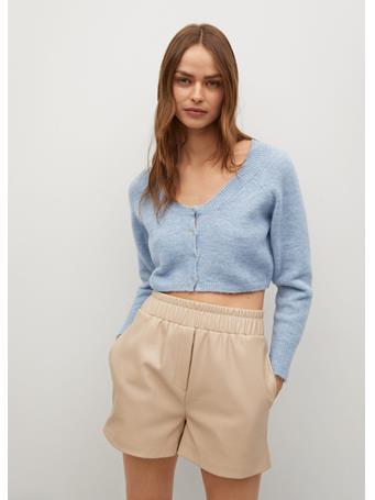 MANGO - Knitted Cropped Cardigan MEDIUM BLUE