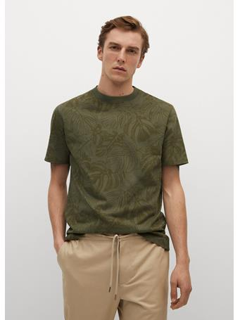 MANGO - Organic Printed Cotton T-shirt KHAKI