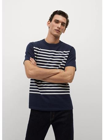 MANGO - Stripes Organic Cotton T-shirt NAVY
