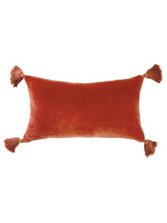 PERI HOME - Velvet Tassel Decorative Pillow RUST