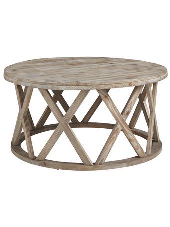 ASHLEY FURNITURE - Glasslore Round Coffee Table LIGHT GREYISH