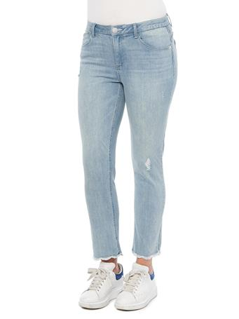 DEMOCRACY - Ab Solution High Rise Slim Straight Ankle Length Fray Jeans LIGHT BLUE