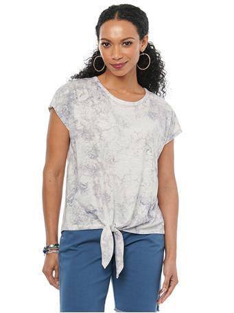 DEMOCRACY - Cap Sleeve Marble Tie Dye Tie Front Slub Jersey Tee Shirt SMOKEY TWILIGHT