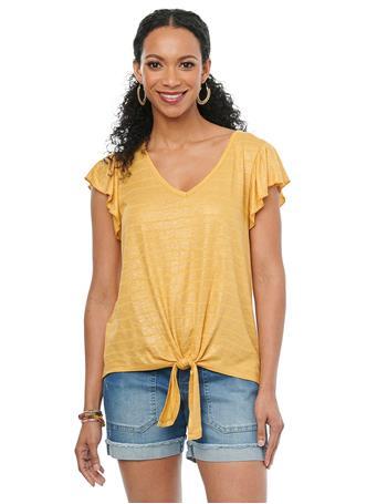 DEMOCRACY - Ruffle Short Sleeve V Neck Tie Front Metallic Stripe Knit Top SUNSET GOLD