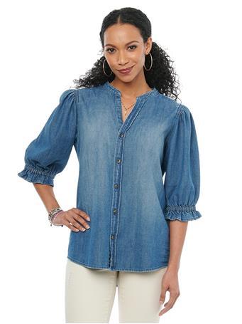 DEMOCRACY - Bonnet Sleeve Mandarin Collar Button Down Blue Denim Shirt BLUE