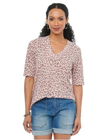 DEMOCRACY - Elbow Sleeve V Neck Animal Print Fashion Tee Shirt FROSTED PINK
