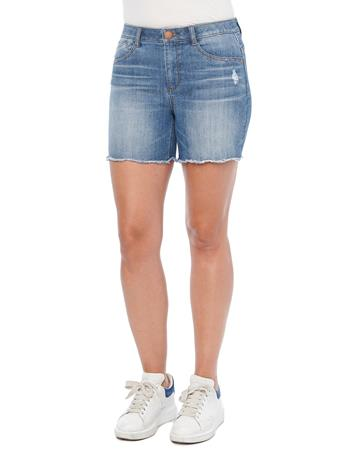 DEMOCRACY - Ab Solution High Rise Mid Blue Denim Scallop Fray Hem Shorts MID BLUE