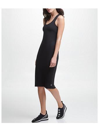 DKNY - Ribbed Racerback Dress With Built In Bra BLACK