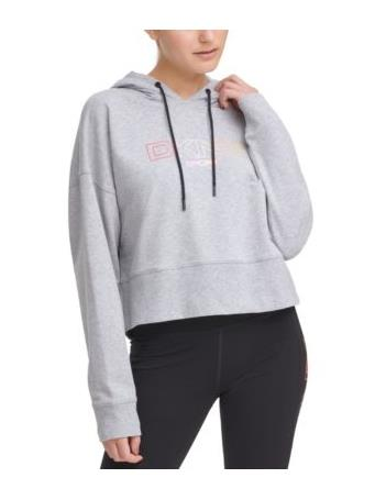 DKNY- Sport Ombre Logo Cropped Hoodie PEARL GREY HEATHER