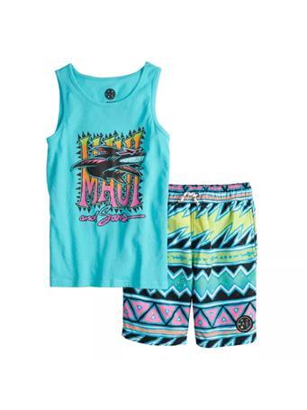 MAUI AND SONS - Graphic Tank Top & Swim Shorts Set CAPRI BLUE