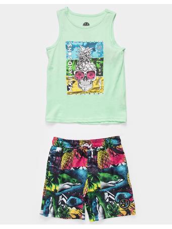 MAUI AND SONS - Wild Shark Little Boys Tank & Shorts Set MINT GREEN
