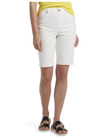 HUE- Ultra Soft Denim High Waist Bermuda Shorts WHITE