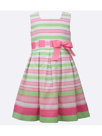 BONNIE JEAN - Rachel Linen Stripe Dress GREEN