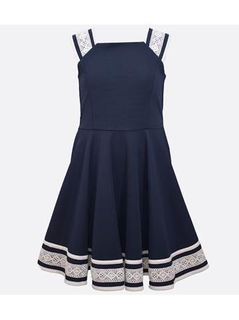 BONNIE JEAN - Gia Nautical Lace Dress NAVY