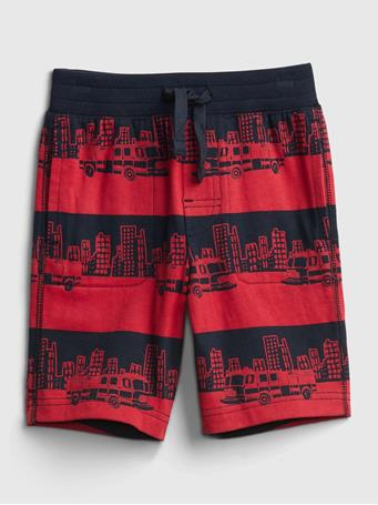 GAP - Toddler Organic Cotton Mix and Match Print Pull-On Shorts FIRETRUCK