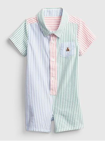 GAP - Baby Colorblock Shorty One-Piece PARROT GREEN