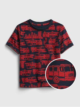 GAP - Toddler Organic Cotton Mix and Match T-Shirt FIRETRUCK