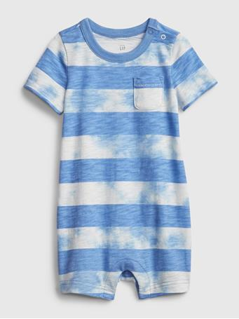 GAP - Baby Stripe Tie-Dye Shorty One-Piece CABANA BLUE