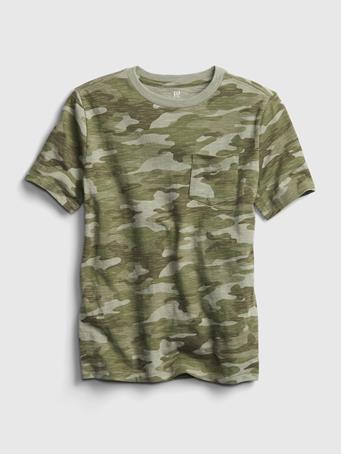 GAP - Kids Pocket T-Shirt GREEN CAMO