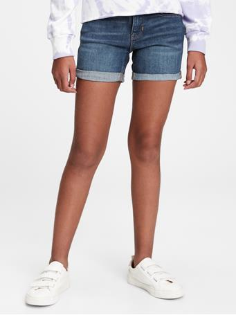GAP - Kids Midi Denim Shorts with Stretch DARK WASH
