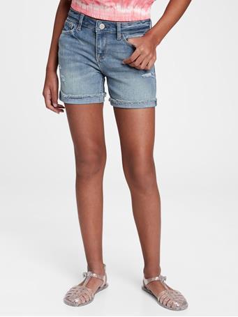 GAP - Kids Distressed Denim Midi Shorts with Stretch MEDIUM WASH