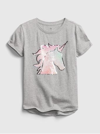 GAP - Kids Flippy Sequin Graphic T-Shirt GREY HEATHER