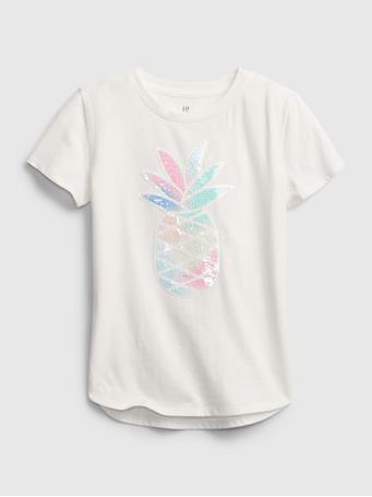 GAP - Kids Flippy Sequin Graphic T-Shirt NEW OFF WHITE