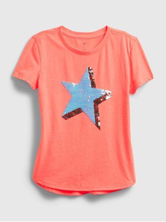 GAP - Kids Flippy Sequin Graphic T-Shirt NEON CORAL