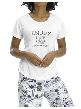 HUE - Enjoy the Small Things Short Sleeve PJ Shirt WHITE