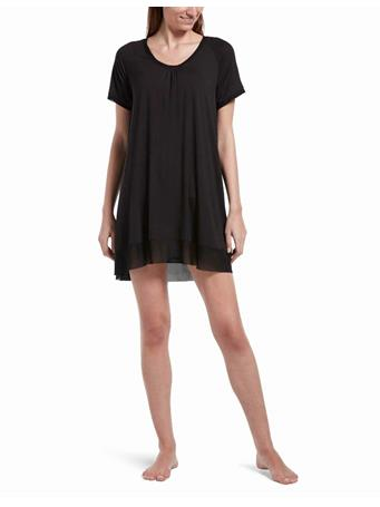 HUE - SleepWell Solid Short Sleeve, PJ Gown BLACK
