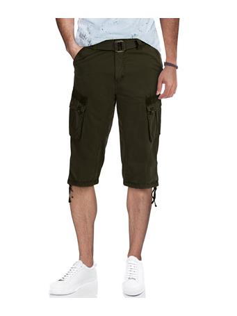 XRAY - Belted Cargo Shorts With Draw Cord OLIVE
