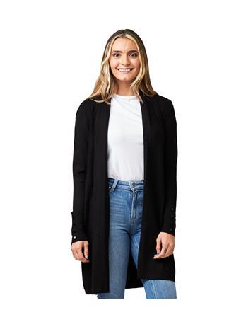 CYRUS - Long-Line Open Cardigan BLACK