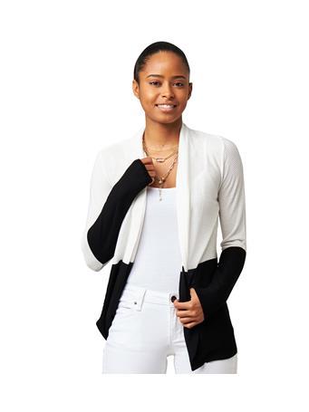 CYRUS - Long Sleeve 3/4 Length Cardigan PURE WHITE/BLACK