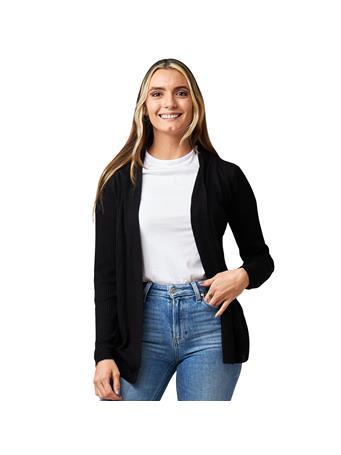 CYRUS - Long Sleeve 3/4 Length Ribbed Cardigan BLACK
