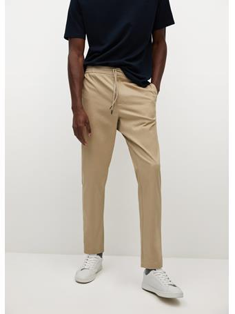MANGO - Cotton Jogger-style Trousers BEIGE